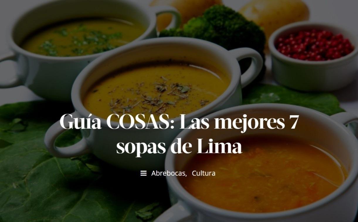 Cosas nos eligió como una de las 7 mejores sopas de Lima